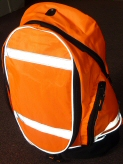 High visibility rucksacks - FLUORESCENT ORANGE with reflective strips